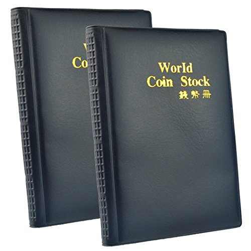 Holder Sheet Film (Wobe 2 Pack of 120 Pockets Coin Holder Collection Coin Storage Album Book for Collectors, Money Penny Pocket (Black) 10 Sheet PVC Money Album Book for Collectors)