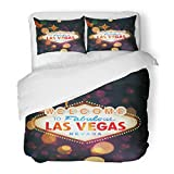 SanChic Duvet Cover Set Night Welcome to Las Vegas Sign with Bokeh Casino Party Poker Win Decorative Bedding Set with 2 Pillow Shams Full/Queen Size