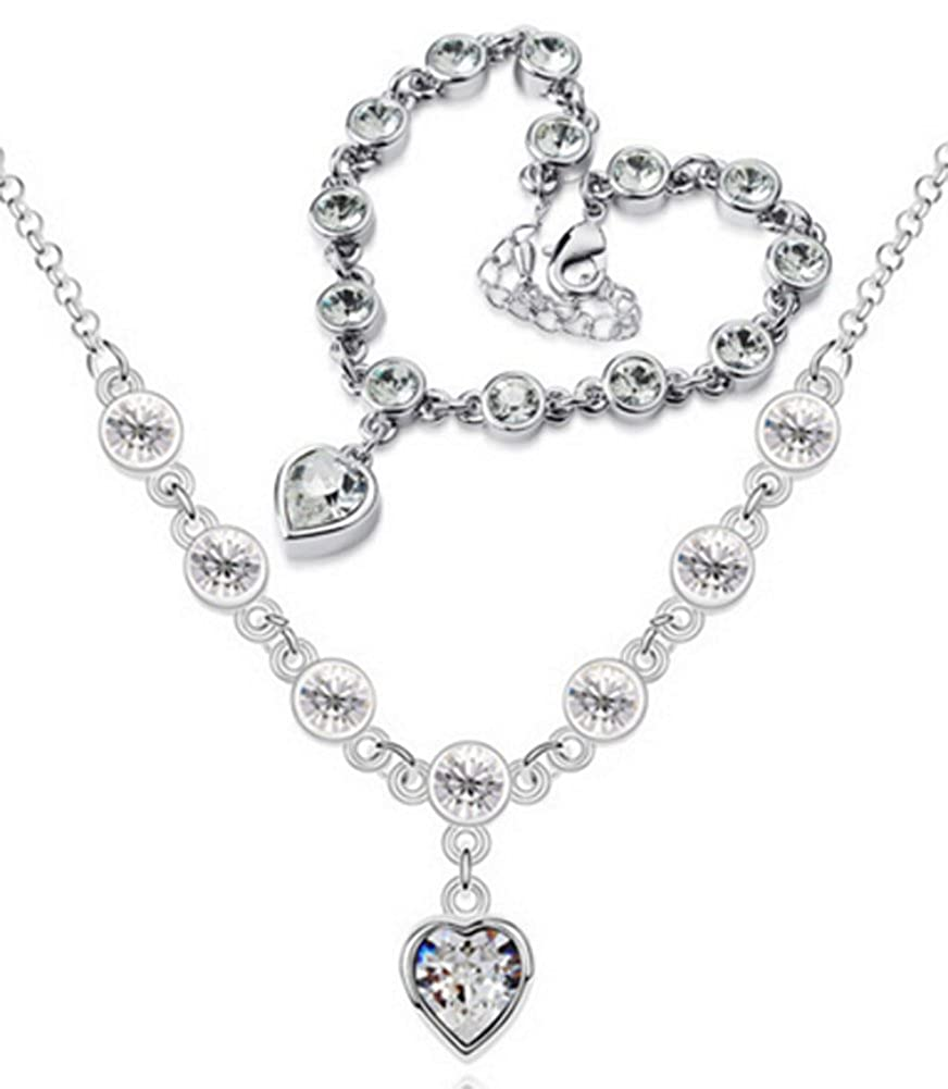 Richy-Glory Austrian Crystal heart Shape Romantic Wedding Jewelry Set