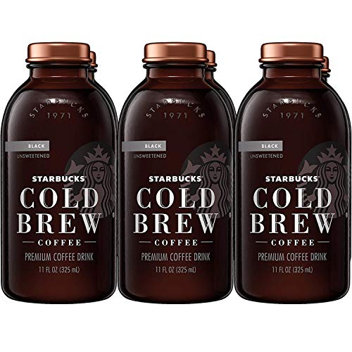 (Starbucks Cold Brew Coffee, Black Unsweetened, 11 oz Glass Bottles, 6 Count)