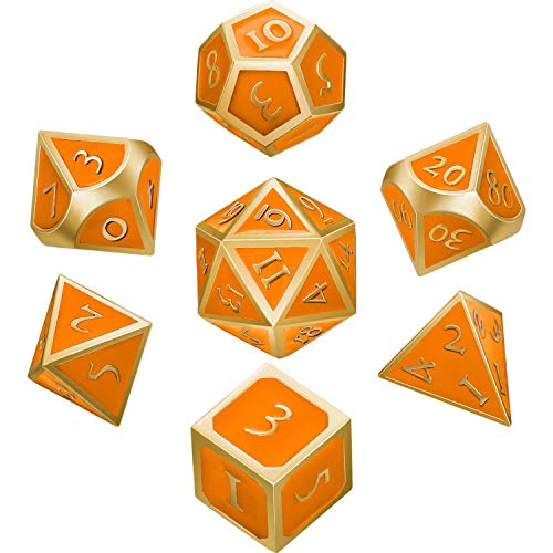 Hestya 7 Pieces Metal Dices Set DND Game Polyhedral Solid Metal D&D Dice Set with Storage Bag and Zinc Alloy with Enamel for Role Playing Game Dungeons and Dragons (Golden Edge Orange)