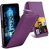 ONX3® (Dark Purple) ZTE Grand X2 Universal Luxury Style Folding PU Leather Spring Clamp Holder Top Flip Case with 2 Cards slot, Slide Up and Down Camera