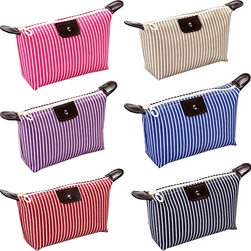 HappyDaily Pack of 6 Fashion Design Muliti-Functional Bag Makeup Bag Cosmetic Pouch Travel Toiletry Carrying Purse (Stripe(Black/Hotpink/Purple/Red/Beige/Blue))