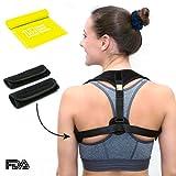 Posture Corrector for Women Men - FRONT ADJUSTABLE and SELF-MOUNTABLE - Back Brace - Back Support - Posture Brace for Back Pain and Neck Pain Relief + BONUS Resistance Band + 2 Comfortable Armpit Pads
