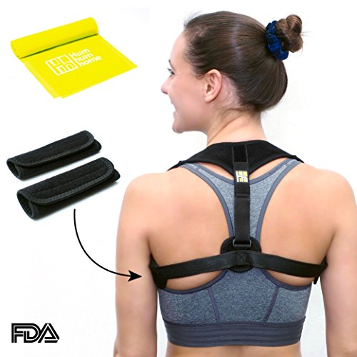Posture Corrector for Women Men - FRONT ADJUSTABLE and SELF-MOUNTABLE - Back Brace - Back Support - Posture Brace for Back Pain and Neck Pain Relief + BONUS Resistance Band - Upright Support Adjustable