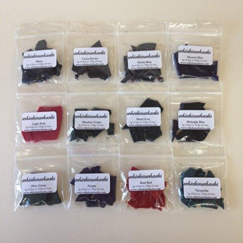 Whicksnwhacks - Cera paraffinica/di soia colorata per realizzare candele, 12 bustine da 5 g