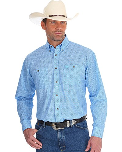 Wrangler Men's George Strait Long Sleeve Button Front Shirt, Blue, M 1 George Strait Collection
