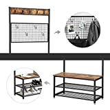 VASAGLE Industrial Coat Stand, Shoe Rack Bench with Grid Memo Board, 9 Hooks and Storage Shelves, Hall Tree with Stable Metal Frame, Rustic Brown UHSR46BX