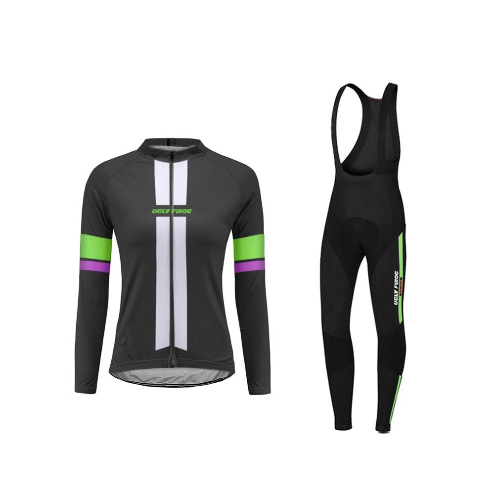 Uglyfrog 2018 Radtrikot Winter Damen Fahrradbekleidung Langarm Thermo mit Fleece Anzug Radfahren Frauen Trikot Set WZ01