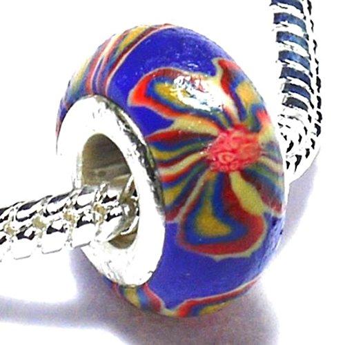 Charm Buddy Purple Flowers Funky Acrylic Charms Bead Fits Silver Pandora Style Bracelets