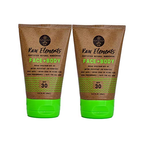 Raw Elements Certified Natural Sunscreen   Non-Nano Zinc Oxide, 95% Organic, Very Water Resistant, Reef Safe, Non-GMO, Cruelty Free, SPF 30+, All Ages Safe, Moisturizing, 3oz (2-Pack) ()