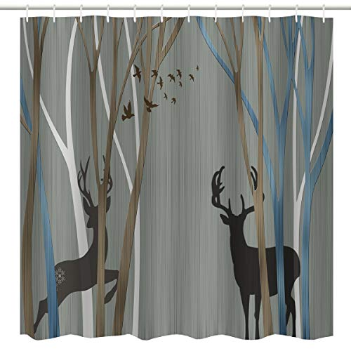 BROSHAN Elegant Fabric Shower Curtain, Modern Abstract Deer and Bird Tree Forest Art Print Bath Curtain, Polyester Waterproof Fabric Bathroom Decor Set with Hooks, 72x72 inch