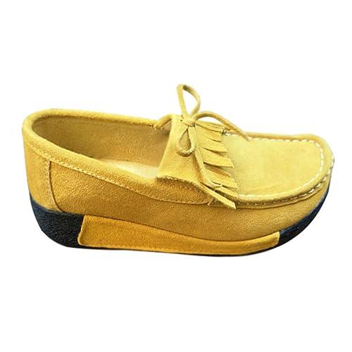 Yudesun Zapatos para Mujer Mocasines - Náuticos Punta Redonda Plataforma Tacón de cuña Cordones Comodidad Gamuza Borla Casual: Amazon.es: Zapatos y ...