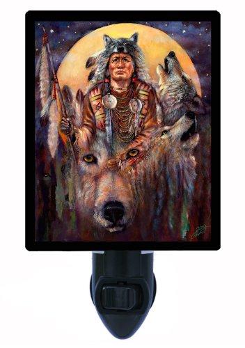 Native American Night Light, Invoking The Wolf Spirit, LED Night Light