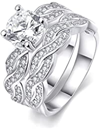 Women's Pretty Weave Pattern 18K White Gold Plated Princess Cut CZ Crystal Engagement Rings Set Best Promise Rings for Her Anniversary Infinity Wedding Bands TIVANI Collection Jewelry Rings