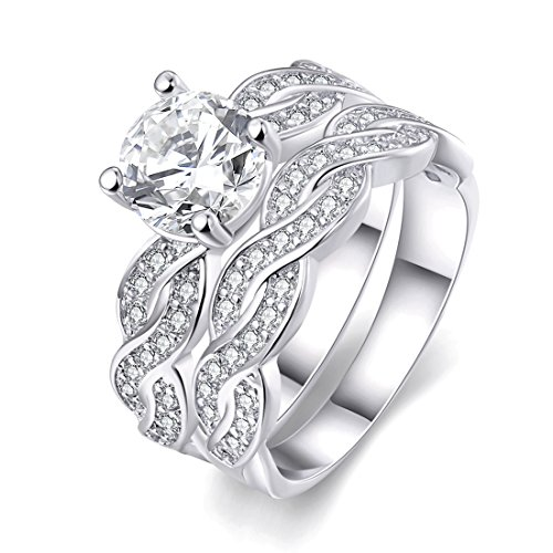 Women's Pretty Weave Pattern 18K White Gold Plated Princess Cut CZ Crystal Engagement Rings Set Best Promise Rings for Her Anniversary Infinity Wedding Bands TIVANI Collection Jewelry Rings (Wedding Band Set White Gold)