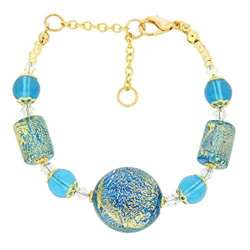 GlassOfVenice Murano Glass Ca D'Oro Bracelet - Aqua (Bracelets Murano Aqua)