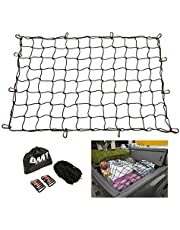 OrionMotorTech 3x4 Foot Strechable to 6x8 ft Bungee Cargo Net Adjustable Net for Pickup Truck Bed SUV Car Roof Rack Rooftop Travel Luggage Netting Rack with 12 Aluminum Carabiners, Small 4x4 inch Mesh, 5mm Thick Cord