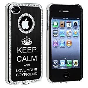 Apple iPhone 4 4S Black S1971 Rhinestone Crystal Bling Aluminum Plated Hard Case Cover Keep Calm and Love Your Boyfriend