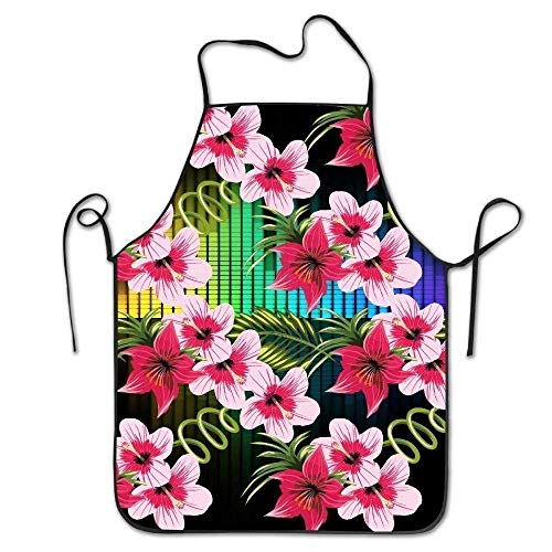 GAMSJM Personalized Kitchen Aprons Floral Hawaii Flower Creative Print Home Kitchen Adjustable Easy Care Barbecue Lightweight Apron Dress for Family Use Chef Apron ()