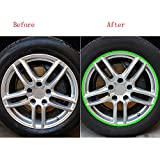 Naladoo Car Accessory, Car Motorcycle Wheel Sticker Reflective Rim Stripe Tape Decal Decor Accessories (Green)