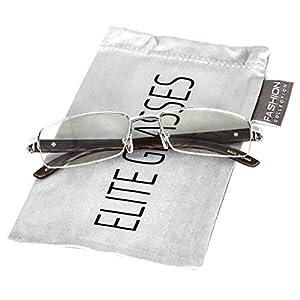 Elite Glasses WOOD Art Nouveau VINTAGE Semi Rimless Style Gangster RICH Frame EyeGlasses (Silver Dark Brown, 2.2) (Silver, 2.2)
