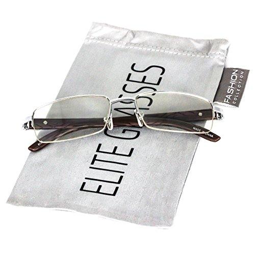 Elite Glasses WOOD Art Nouveau VINTAGE Semi Rimless Style Gangster RICH Frame EyeGlasses (Silver Dark Brown, 2.2) (Silver, - Wood Frames Eyeglasses