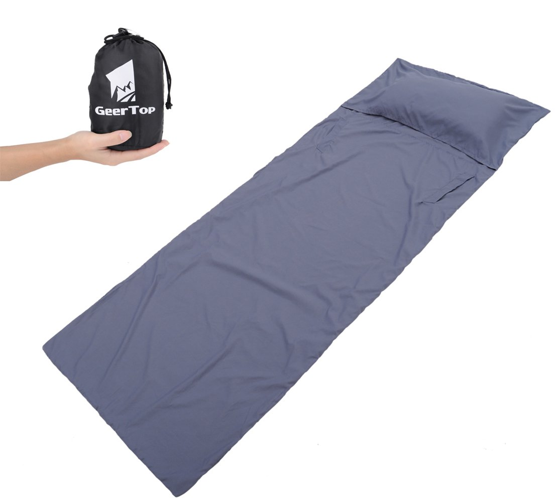 GEERTOP Lightweight HANDS FREE Cotton Sleeping Bag Liner for Backpacking and Travel - Width and Length 6' 11'' x 2' 7'' 6 ft 11 in x 2 ft 7 in)