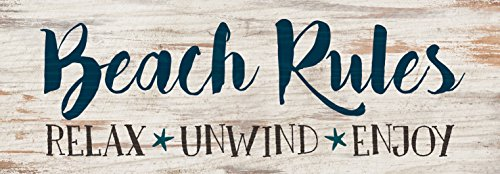 Beach Rules Relax Unwind Enjoy Whitewash 16 x 5.5 Solid Wood Plank Wall Plaque Sign