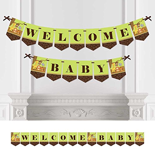 Big Dot of Happiness Funfari - Fun Safari Jungle - Baby Shower Bunting Banner - Jungle Party Decorations - Welcome Baby -