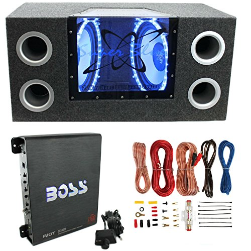 200W Car Audio Subwoofer + Box + 1100W Mono Amp +Wiring Kit (12' Car Sub Subwoofer)