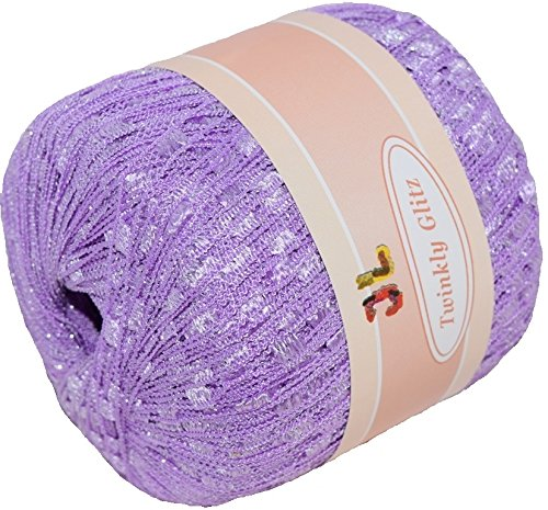 TWINKLY GLITZ Trail Ladder Trellis Yarn 150 yards, Color 903 Purple with lurex