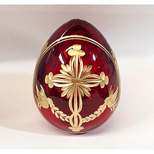 Religious Burgundy Imperial Faberge Style Glass Egg With Cross - 3 Inch tall x 2 1/2 Inch
