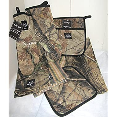 8 Piece Kitchen Dish Towels Oven Mitt and Potholder Realtree Camo Kitchen Set Mossy Oak Hunting Accessories 2 Oven Mitts 2 Potholders 4 Towels Bundle