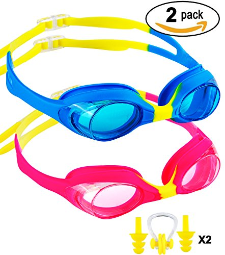 SBORTI 2 Pack Kids Swimming Goggles,No Leaking,Anti Fog,UV Protection Swim Glasses Water Goggles