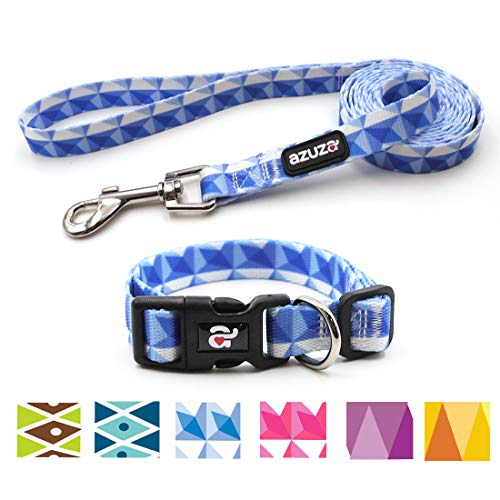 - azuza Dog Collar and Leash Set, Adjustable Nylon Collar with Matching Leash,Blue Flag for Small Dogs