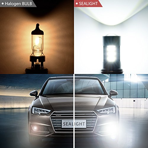 91459140H1090459040-LED-Fog-Lights-Bulbs-or-DRL-DOT-Approved-SEALIGHT-Xenon-White-6000K-27-SMD-2-Yr-Warranty-Pack-of-2