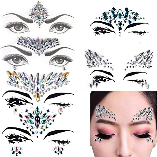 6 Sets Mermaid Face Gems Festival Jewels Crystals Bindi Rainbow Tears Rhinestone Tattoo Face Rocks by PIAOPIAONIU]()
