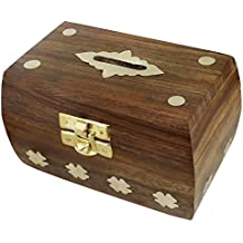 Treasure Chest Money Box Safe Money Box Savings Banks Wooden Carving Handmade Large Piggy Bank for Kids 4.5 Inches