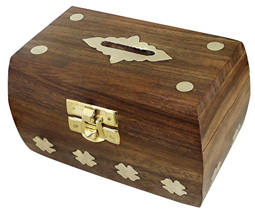Antique Puzzle Box - SKAVIJ Beautiful Indian Handmade Wooden Money Bank in Rectangular Shape Birthday Gifts Toy Antique Inspired Safe Box Kids - 4.5 inch