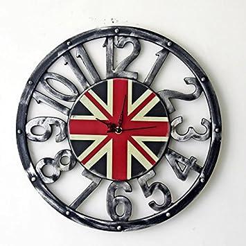 Relojes de pared Vintage decoración de pared reloj de pared reloj de pared reloj de pared hueca de bandera británica marco digital, 16 pulgadas, Hacer Tu ...