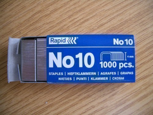 Rapid Number No. 10 (Fit Rexel Stapler) Staples x 1000 in Box 4mm x 9mm Home Fusion