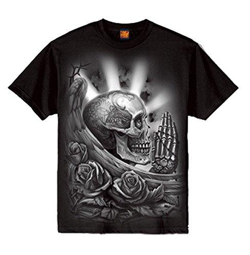 OGABEL Men's Pray Skull SS T Shirt Black