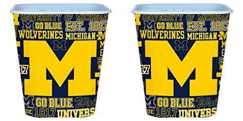 NCAA Michigan Wolverines 3 Liter Reusable Plastic Snack Bucket 2 Pack (Michigan Basket)