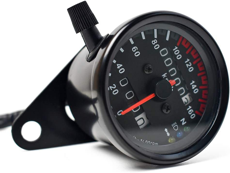 DK MOTOR SM-0021 Motorcycle Speedometer Dual Odometer Gauge with Led Backlight Neutral Headlight Turn Signal Indicator Stainless 2.56 Inches 12V Universal Black
