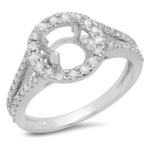 Dazzlingrock Collection 0.40 Carat (ctw) 14K White Diamond Ladies Bridal Halo Semi Mount Engagement Ring, White Gold, Size 6