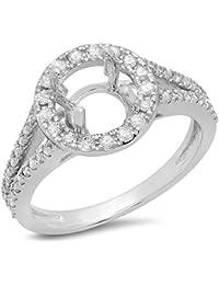 0.40 Carat (ctw) 14K Gold White Diamond Ladies Bridal Split Shank Halo Style Semi Mount Engagement Ring