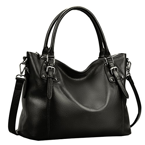 Heshe Women's Vintage Leather Shoulder Handbags Top-Handle Bag Large Capacity Totes Work Satchel Designer Ladies Purse Cross Body Bag (Medium, Black-NEW)