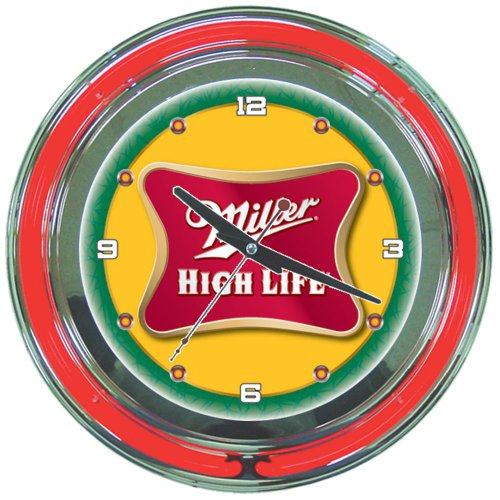 (Miller High Life Chrome Double Ring Neon Clock, 14