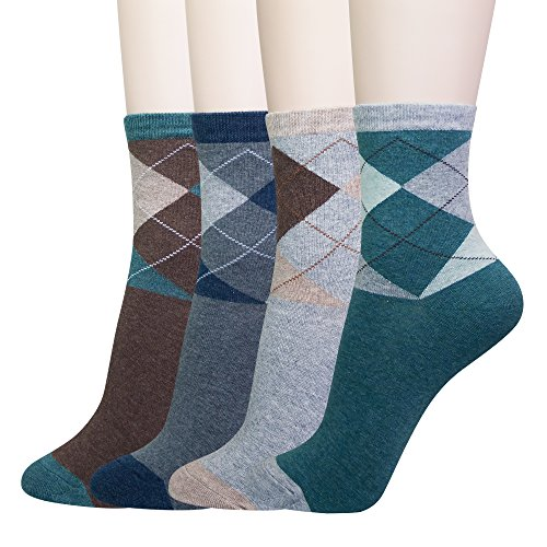 KONY Women's 4 Pack Classic Argyle Patterned Dress Crew Socks (Classic Argyle - 4 Pairs)